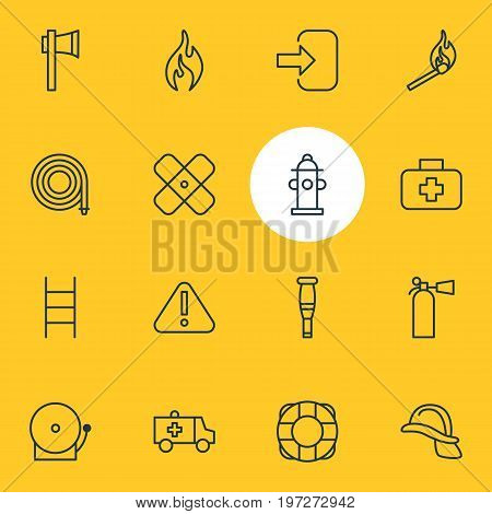 Editable Pack Of Hardhat, Hosepipe, Lifesaver And Other Elements.  Vector Illustration Of 16 Necessity Icons.