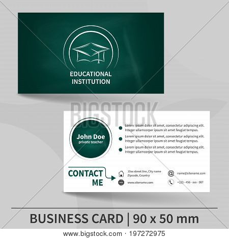 Business card template blackboard texture. Educational institution. Design for your individual or business presentation. Suitable for printing. Vector illustration.