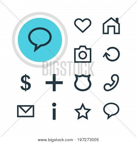 Editable Pack Of Letter , Asterisk, Handset Elements.  Vector Illustration Of 12 Interface Icons.