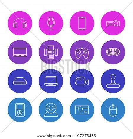 Editable Pack Of Joypad, Floodlight, Monitor And Other Elements.  Vector Illustration Of 16 Accessory Icons.
