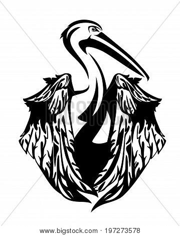 pelican bird with folded wings - black and white vector design