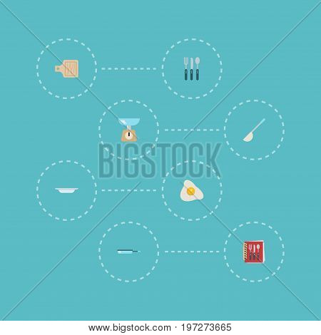 Flat Icons Cooking Notebook, Skillet, Soup Spoon And Other Vector Elements