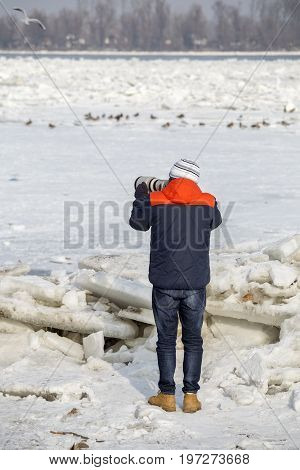Bird Photographer In Winter Time