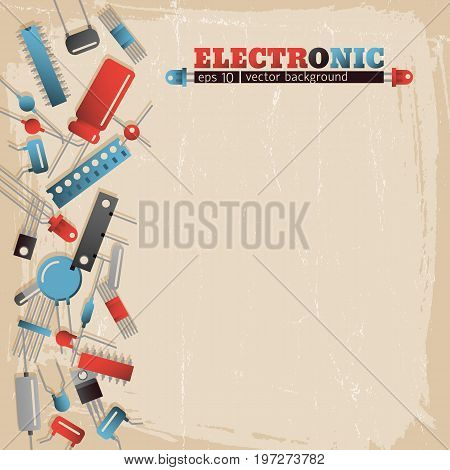 Colorful transistors left on textured electronic background flat vector illustration