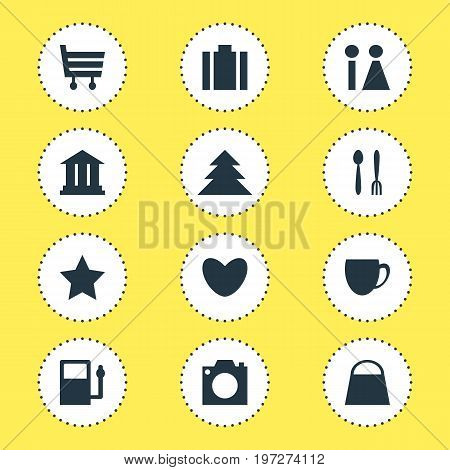 Editable Pack Of Bookmark, Photo Device, Briefcase And Other Elements.  Vector Illustration Of 12 Map Icons.
