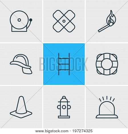 Editable Pack Of Lifesaver, Fire, Water And Other Elements.  Vector Illustration Of 9 Emergency Icons.