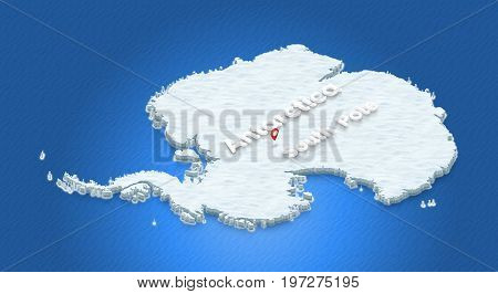 Map Of Antarctica. 3D Isometric Perspective Illustration.