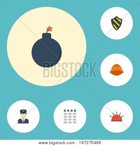 Flat Icons Shield, Policeman, Hardhat And Other Vector Elements