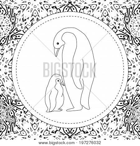 Coloring pages. The penguin mother is standing with her little cute baby. New Year's card, tag, gift card