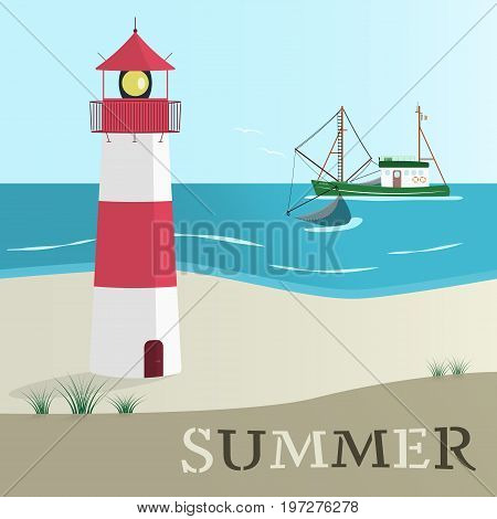 Summer landscape. North Sea at the beach with lighthouse and typical fishing boat.