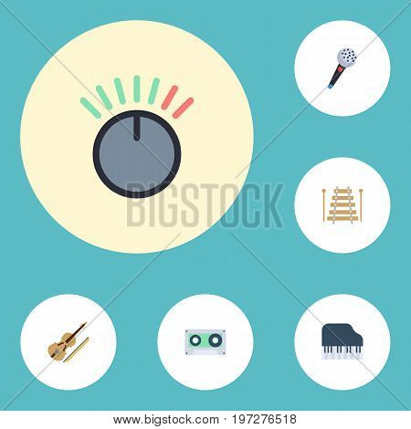 Flat Icons Fiddle, Octave Keyboard, Musical Instrument And Other Vector Elements