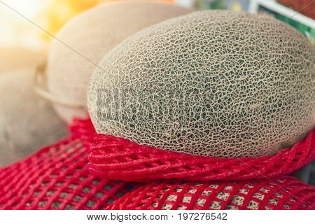 Japanese fruit Melon sale at the market. Most popular aroma fruity in japan in summer season.