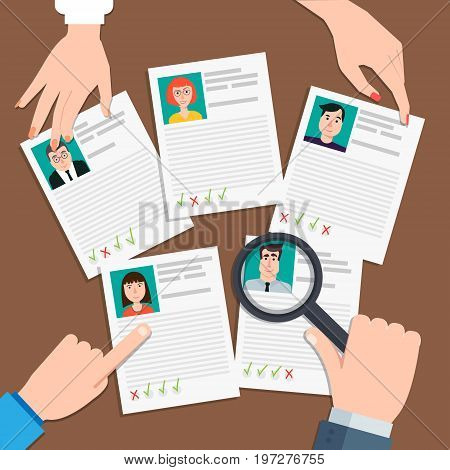 Vector illustration in flat design.Human resources management concept searching professional staff analyzing resume documents papers.HR manager looking through magnifying glass on job candidates.
