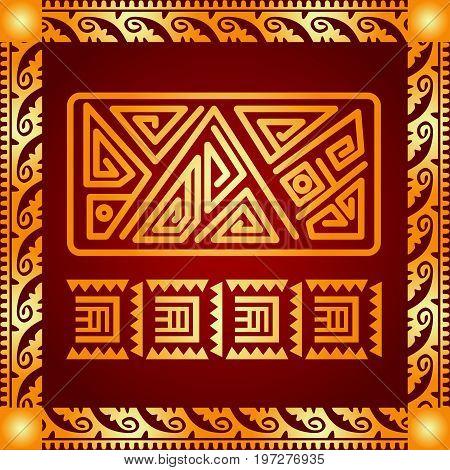 Maya and aztec symbolic ornaments. Golden ornament