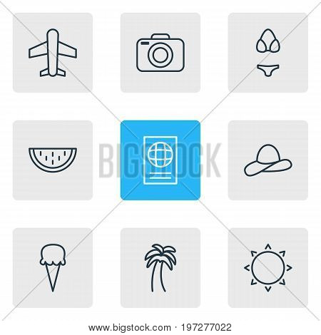 Editable Pack Of Certificate, Cap, Swimwear And Other Elements.  Vector Illustration Of 9 Season Icons.
