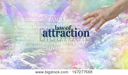 Make use of the Law of Attraction Word Cloud - female hand reaching towards a LAW OF ATTRACTION word cloud  on a multi coloured wispy fantasy style woodland trees and fern  background