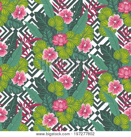Floral paradise hand drawn tropic hibiscus flower with palm leaves on the geometric background. Seamless vector pattern.