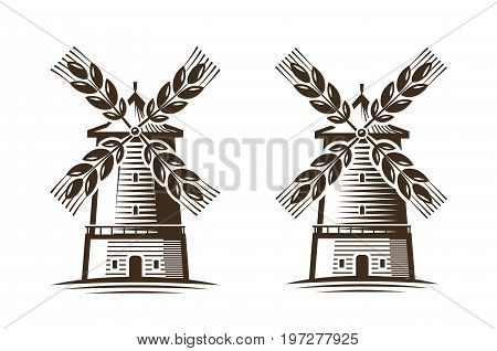 Mill, windmill icon. Agriculture, agribusiness, bakery logo or label isolated on white background