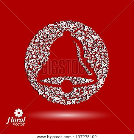 Flower-patterned hand bell. Celebration theme stylized floral vector illustration. Creative art Christmas bell best for use in advertising and graphic design.