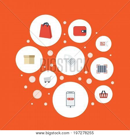 Flat Icons Qr, Label, Pouch And Other Vector Elements