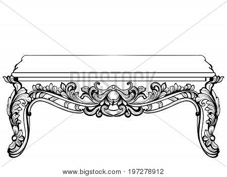 Imperial Baroque Console Table. French Luxury carved ornaments decorated table furniture. Vector Victorian Royal Styles