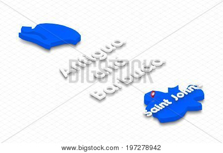 Map Of Antigua And Barbuda. 3D Isometric Perspective Illustration.