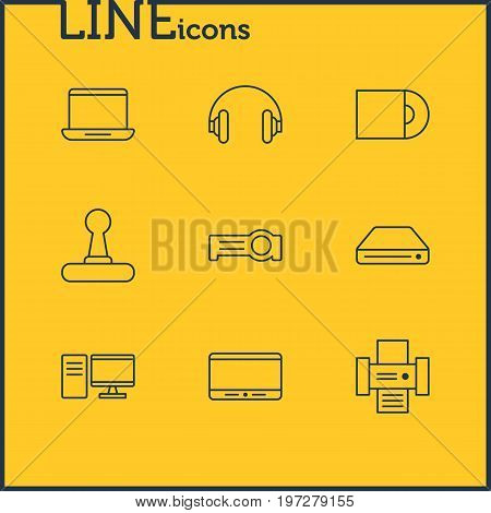 Editable Pack Of Game Controller, Floodlight, PC And Other Elements.  Vector Illustration Of 9 Technology Icons.