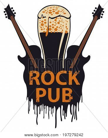 Vector banner for the pub with live music. Illustration with a beer glass guitars and words rock pub in retro style