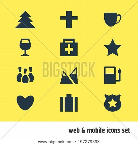 Editable Pack Of Briefcase, Jungle, Heart And Other Elements.  Vector Illustration Of 12 Location Icons.