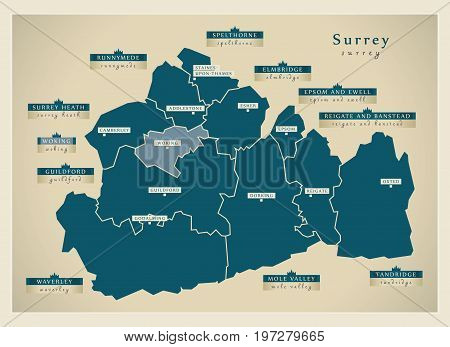 Modern Map - Surrey County With District Labels England Uk Illustration