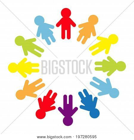 Man and woman pictogram icon sign. People round circle. Timework friendship symbol. Male Female silhouette. Rainbow color. Boys girls holding hands. Friends forever. Flat White background. Vector