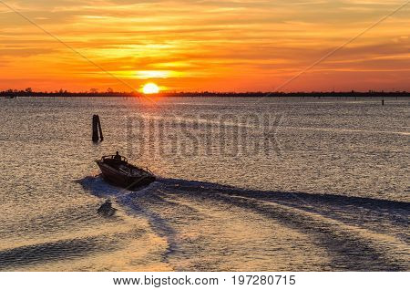 Sunset At The Lagoon Near Chioggia, Italy