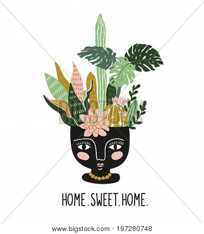 Hand drawn tropical house plants in the ethnic ceramic pot. Scandinavian style illustration modern and elegant home decor. Vector print design.