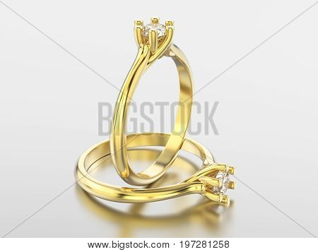 3D illustration isolated two yellow gold classic rings with diamonds with reflaction on a grey background