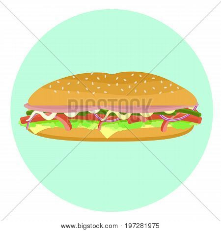 Flat vector delicious colorful big sub sandwich with bacon lettuce tomato pepper cheese onion. Tasty cartoon colorful fastfood symbol for cafe bar restaurant menu design.