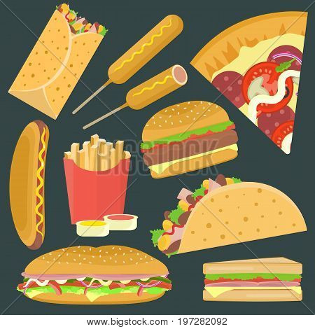Flat bright vector fastfood icons set including hamburger pizza sandwich taco. Tasty cartoon colorful fastfood symbols for cafe bar restaurant menu design.