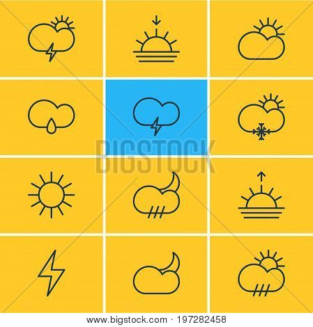 Editable Pack Of Cloud, Windstorm, Moon Month And Other Elements.  Vector Illustration Of 12 Weather Icons.