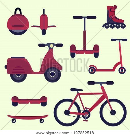 Flat cherry red fashion youth city transport set. Modern alternative city transport. Ecological teenager transport isolated symbol