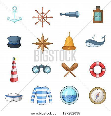 Nautical icons set. Cartoon illustration of 16 nautical vector icons for web