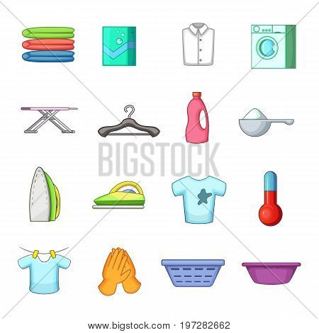 Laundry icons set. Cartoon illustration of 16 laundry vector icons for web