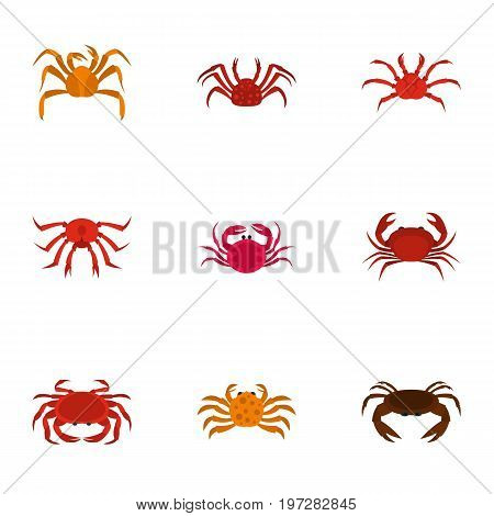 Underwater crab icons set. Cartoon set of 9 underwater crab vector icons for web isolated on white background