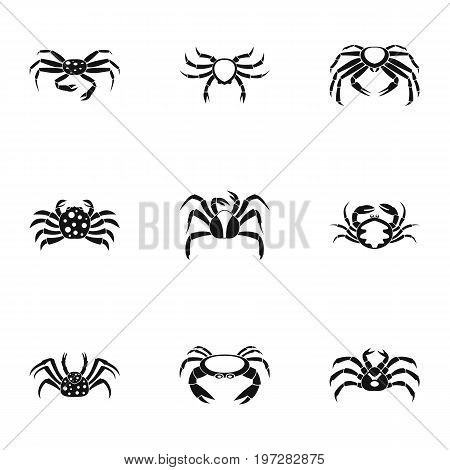 Underwater crab icons set. Simple set of 9 underwater crab vector icons for web isolated on white background