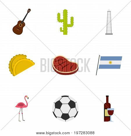 Attractions of Argentina icons set. Cartoon set of 9 attractions of Argentina vector icons for web isolated on white background