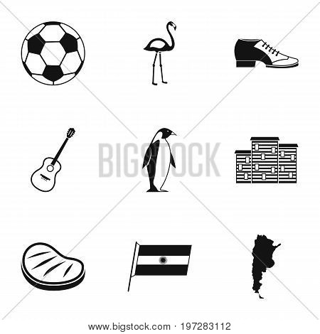 Attractions of Argentina icons set. Simple set of 9 attractions of Argentina vector icons for web isolated on white background