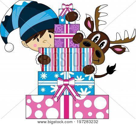 Elf Reindeer And Gifts