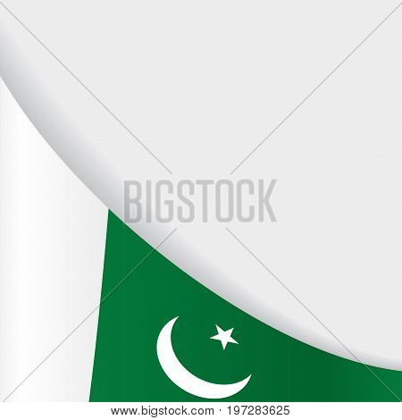 Pakistani flag wavy abstract background. Vector illustration.