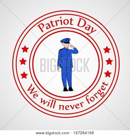 illustration of stamp and soldier saluting with Patriot Day we will never forget text on the occasion of Patriot Day
