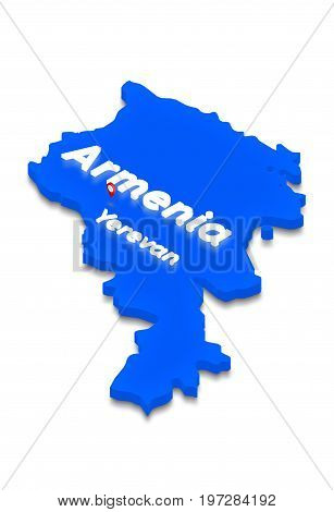 Map Of Armenia. 3D Isometric Perspective Illustration.