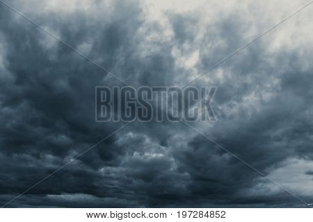 Rain Strom Cloudy Darkness Frightening Sky In Rainy Season Black Dark Color Tone.