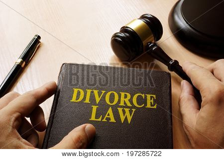 Divorce Law on a court table. Alimony and separation concept.
